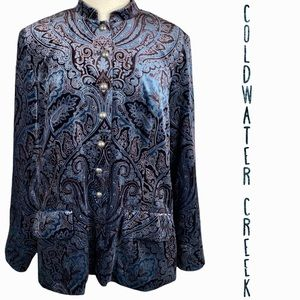 Coldwater Creek plus size blue and brown paisley velvet jacket 1X